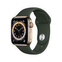 Apple Watch Series 6 GPS + Cellular, 40mm Boitier en Acier Inoxidable Or avec Bracelet Sport Vert de Chypre