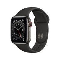Apple Watch Series 6 GPS + Cellular, 40mm Boitier en Acier Inoxidable Graphite avec Bracelet Sport Noir