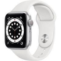 Apple Watch Series 6 GPS, 40mm Boitier en Aluminium Argent avec Bracelet Sport Blanc