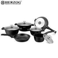 Herzog HR-ST16M: Batterie de cuisine moulée sous pression de 16 pièces Noire