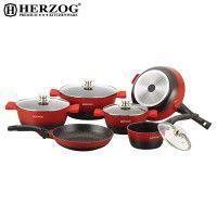Herzog HR-ST16M: Batterie de cuisine moulée sous pression de 16 pièces Rouge