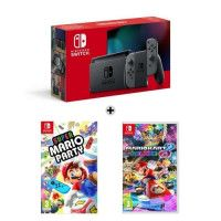 Console Nintendo Switch Grise + Super Mario Party + Mario Kart 8 Deluxe