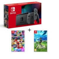 Switch grise + Mario Kart 8 Deluxe + The Legend of Zelda Breath of the Wild