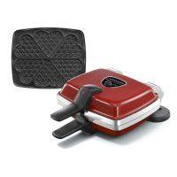 LAGRANGE Gaufrier Super 2 Antiadhesif - 1000W - 1 jeux de plaques : Gaufres coeur - Rouge