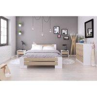 MAO Chambre adulte complete - Contemporain - Blanc mat et decor chene sonoma - l 140 x L 190 cm