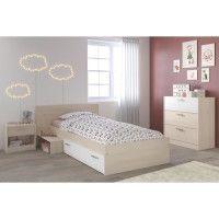 MARCO Chambre Enfant Complete style contemporain decor acacia clair et blanc - l 90 x L 190 cm