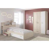 CHARLEMAGNE Chambre enfant complete - Tete de lit + lit + armoire - Style contemporain - Decor acacia clair et blanc