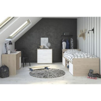 LIAM Chambre enfant complete 3 pieces - Lit + commode + bureau - Style contemporain - Decor chene jackson et blanc