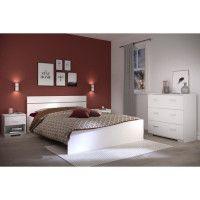 BOSTON Ensemble chambre lit 140x190 cm + 2 chevets + 1 commode - Blanc