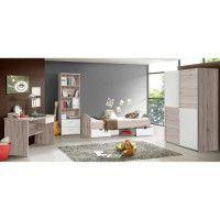 LUPO Chambre enfant complete style classique decor chene cendre et blanc mat - l 90 x L 190 cm