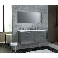GLOSSY Meuble de Salle de bain double vasque L 120cm - Gris fonce laque brillant
