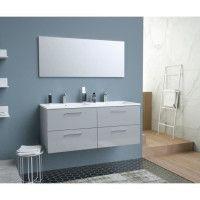 GLOSSY Meuble de Salle de bain double vasque L 120cm - Gris clair laque brillant