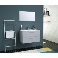 GLOSSY Meuble DE Salle de bain simple vasque L 80cm - Gris clair laque brillant