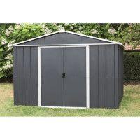 YARDMASTER Abri de jardin en metal 12 m2 - 2 portes coulissantes interieures - Gris anthracite