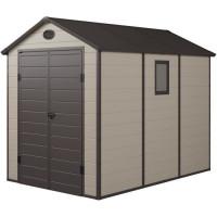 Abri de jardin en resine et acier galvanise - 5,32 m2 - Plancher inclus - Beige et marron