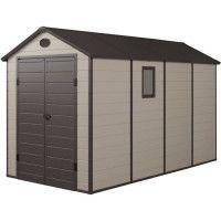 Abri de jardin en resine et acier galvanise - 6,99 m2 - Plancher inclus - Beige et marron