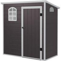 Abri de jardin en resine et acier galvanise - 2,12 m2 - Plancher inclus - Gris anthracite