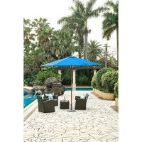 Parasol en bois rond et polyester 160g/m2 - Arc 3 m - Bleu profond