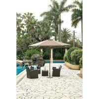 Parasol en bois rond et polyester 160g/m2 - Arc 3 m - Beige taupe