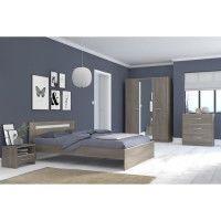 YSA Chambre complete adulte - Contemporain - Decor noyer silver - l 140 x L 190 cm