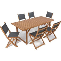 BOCARNEA Table pliable en eucalyptus Charly - 160 cm
