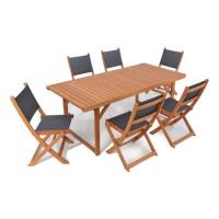 BOCARNEA Table pliable en eucalyptus Charly - 180 cm