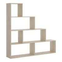 Bibliotheque 6 Compartiments - Decor chene - L 145 x P 29 x H 145 cm - TEN