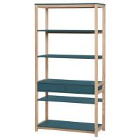 ANKARA Bibliotheque - Bleu - L 80 x P 35 x H 160 cm
