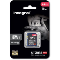 Carte SDXC INTEGRAL SDHC  CL 10/80 - 64 Go