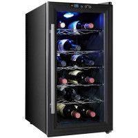 CAVISS SP118CFE - Cave a vin de chambrage - 18 bouteilles - Pose libre - Classe B - L 35 x H 66 cm - Noir