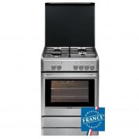 BRANDT BCG6640X - Cuisiniere table gaz-4 foyers-Four mixte multifonction-Catalyse-53L-A-L60xH85cm-Inox