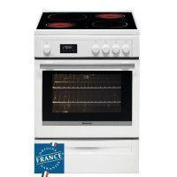 BRANDT BCV6650W - Cuisiniere table vitroceramique-4 foyers-10183 kW-Four electrique multifonction-Pyrolyse-57L-A-L60xH85cm-Blanc