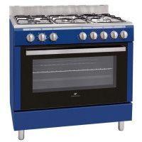 CONTINENTAL EDISON CECP9060MBLU-Cuisiniere table Gaz-5 foyers-3000W-Four electrique-Catalyse-104L-A-L90XH85cm-Bleu-Inox