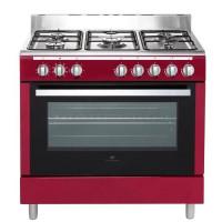 CONTINENTAL EDISON CECP9060MBX-Cuisiniere table Gaz- 5 foyers-3000W- Four electrique- Catalyse-104L-A-L90XH85cm-Bordeaux