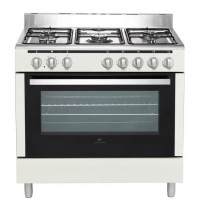 CONTINENTAL EDISON CECP9060MCR - Cuisiniere table Gaz- 5 foyers-3000W- Four electrique-Catalyse-104L-A-L90XH85cm- Creme