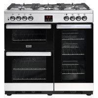 STOVES PCITY90DFTSS-Cuisiniere table de cuisson gaz-5 foyers-Four electrique 3 cavites-35L-62L-91L-A-L90 x H92,2 cm-Inox et noir