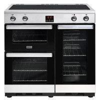 STOVES PCITY90EISS-Cuisiniere table induction-4 zones-Four electrique 3 cavites-35L-62L-91L-A-L90 x H90 cm-Inox et noir