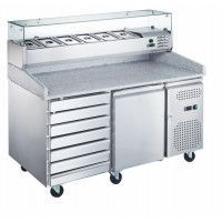 Meuble pizza positif TRPIZ2P7TV1/3X FRINOX 580l - Froid ventilé