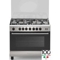 BOMPANI CDBO906GX - Cuisiniere table gaz - 5 foyers - Four gaz - Catalyse - 119 L - B - L 60 x H 85 cm - Inox